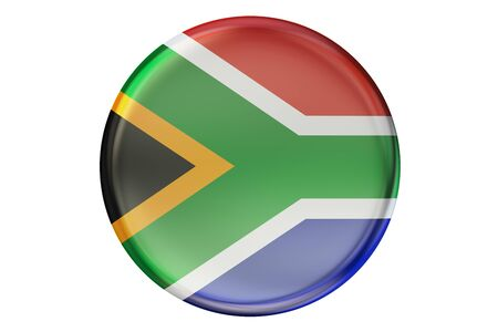 Badge with flag of South Africa, 3D rendering  isolated on white background
