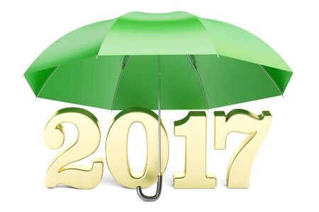 2017 New Year abstract concept with umbrella, 3D rendering