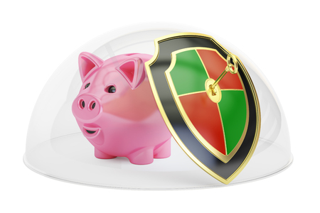 Piggy bank covered by glass dome. Security and protection concept, 3D rendering isolated on white background Stock Photo