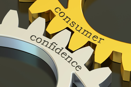 consumer: Consumer Confidence concept on the gearwheels, 3D rendering Stock Photo