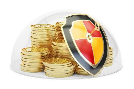 safest: Golden coins covered by glass dome. Security and protection concept, 3D rendering isolated on white background