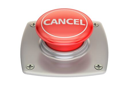 cancel red button, 3D rendering isolated on white background