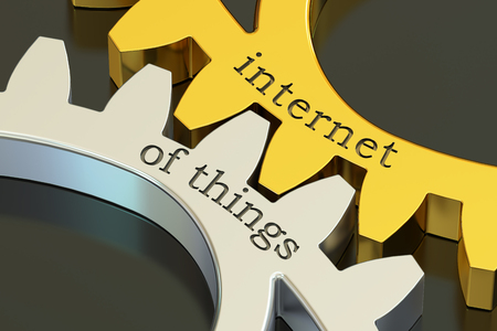 advanced computing: internet of things concept on the gearwheels, 3D rendering
