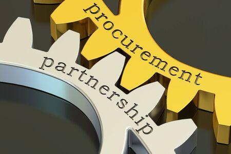 Procurement Partnership concept on the gearwheels, 3D rendering