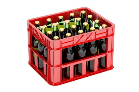 Crate with beer bottles, 3D rendering isolated on white background Stock Photo