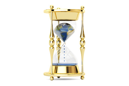 Earth in hourglass, ecological concept. 3D rendering isolated on white background Stock Photo