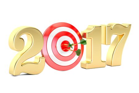 2017 year target concept, 3D rendering isolated on white background