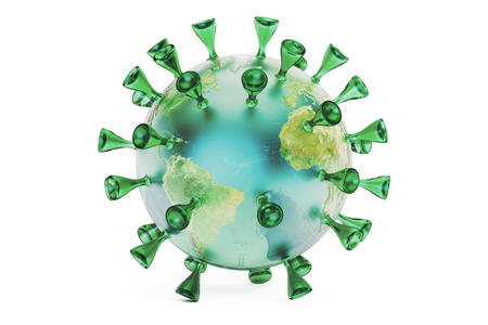 hepatitis prevention: Virus Earth, 3D rendering isolated on white background