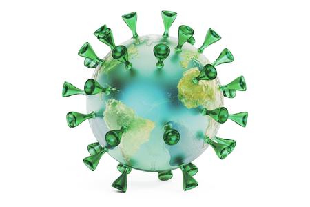 Virus Earth, 3D rendering isolated on white background