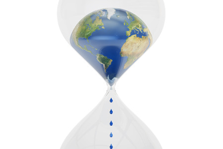 Earth in hourglass closeup, ecological concept. 3D rendering isolated on white background Stock Photo