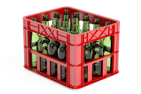 storage box: plastic storage box, crate with empty  bottles. 3D rendering isolated on white background