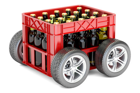 Beer Crate on Wheels, 3D rendering isolated on white background