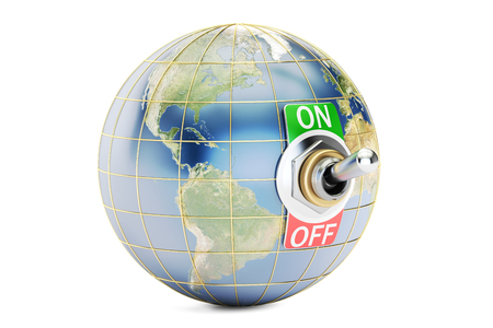Globe with switch on, off. 3D rendering isolated on white background