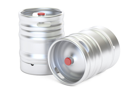 bung: Beer metallic kegs closeup, 3D rendering isolated on white background