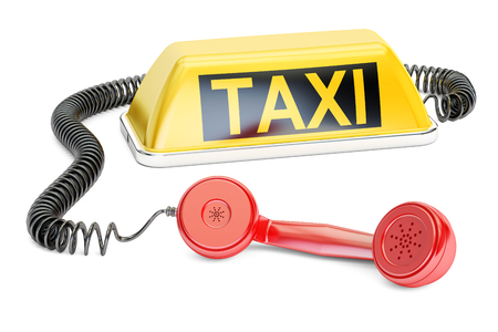 Taxi service concept. 3D rendering isolated on white background