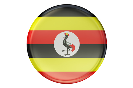 Constitución: Badge with flag of Uganda, 3D rendering  isolated on white background