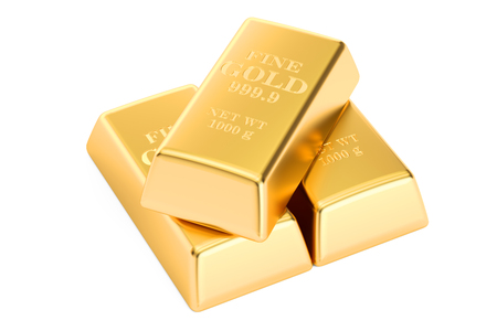 gold bars: Gold bars, 3D rendering isolated on white background