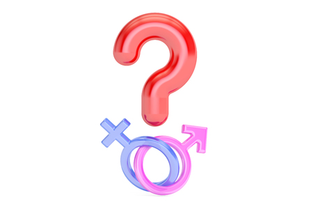 Question mark with gender female and male symbols , 3D rendering isolated on white background