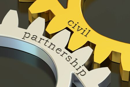 civil partnership concept on the gearwheels, 3D rendering