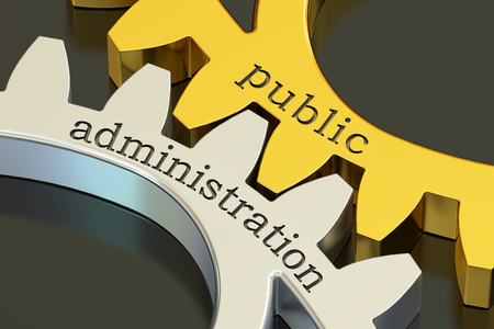 public administration concept on the gearwheels, 3D rendering Stock Photo