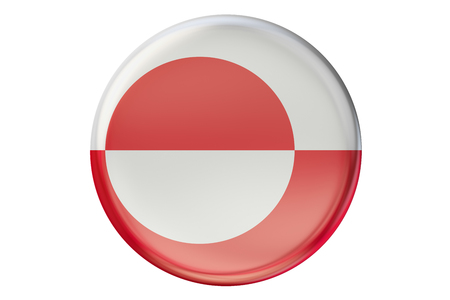 greenlandic: Badge with flag of Greenland, 3D rendering  isolated on white background Stock Photo