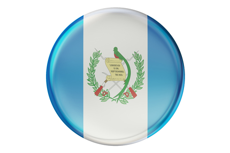 guatemalan: Badge with flag of Guatemala, 3D rendering  isolated on white background