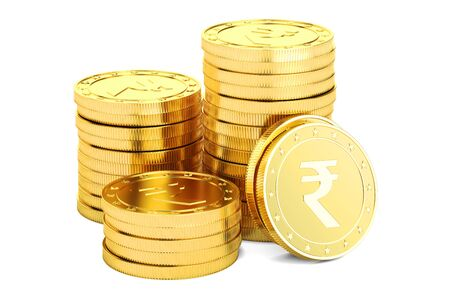 Gold rupee coins, 3D rendering isolated on white background