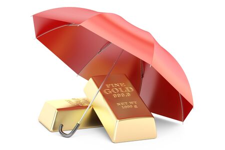 safest: gold bars with umbrella, financial insurance and business stability concept. 3D rendering isolated on white background Stock Photo