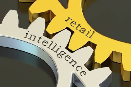 recollection: retail intelligence concept on the gearwheels, 3D rendering