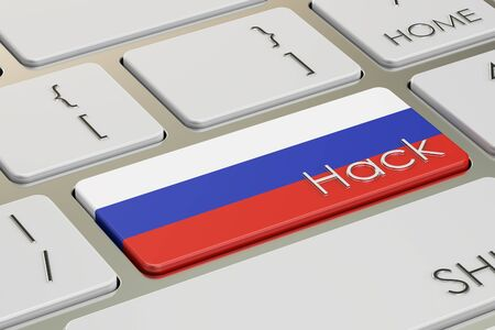 hack: Russian hack attack concept, on the computer keyboard. 3D rendering