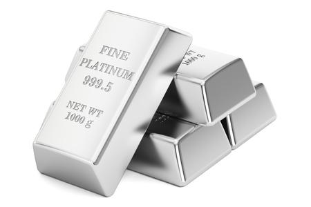 platinum bars, 3D rendering isolated on white background