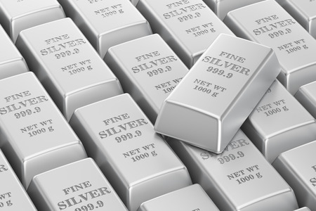 silver bars: silver bars background, 3D rendering