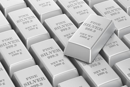 silver ingots: silver bars background, 3D rendering