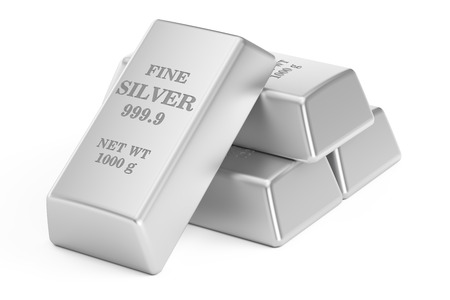 silver bars: silver bars, 3D rendering isolated on white background Stock Photo