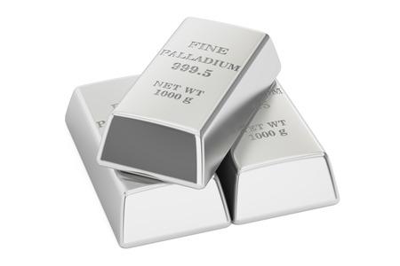 Palladium ingots, 3D rendering isolated on white background