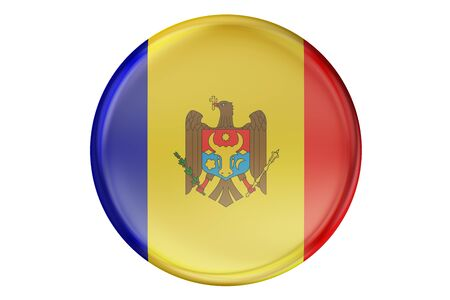 Badge with flag of Moldova, 3D rendering  isolated on white background Stock Photo