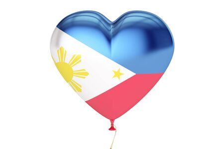 constitution day: Balloons with flag of Philippines, holiday concept. 3D rendering