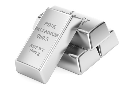 Set of palladium ingots, 3D rendering isolated on white background