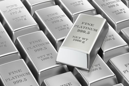 platinum: Platinum bars background, 3D rendering