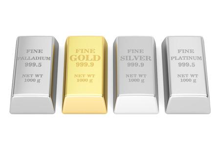 ensemble de métaux monétaires lingots, le rendu 3D Banque d'images