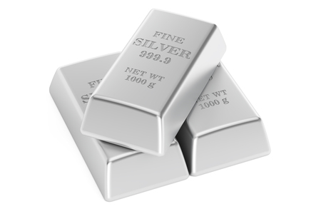 silver ingots: Set of silver bars, 3D rendering isolated on white background