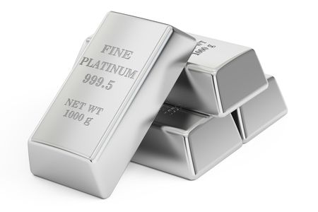 platinum: set of Platinum bars, 3D rendering isolated on white background