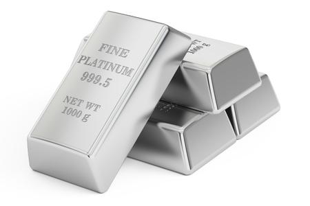 platinum: set of Platinum bars, 3D rendering isolated on white background