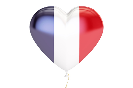 balloon with France flag in the shape of heart, 3D rendering