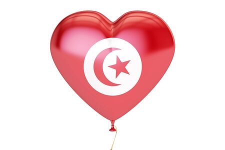 balloon with Tunis flag in the shape of heart, 3D rendering