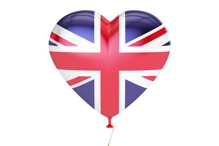 britannia: balloon with United Kingdom flag in the shape of heart, 3D rendering