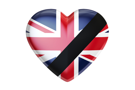 britannia: Mourning in United Kingdom concept, heart with black ribbon, 3D rendering isolated on white background
