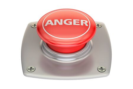 Anger Red Button, 3D rendering isolated on white background