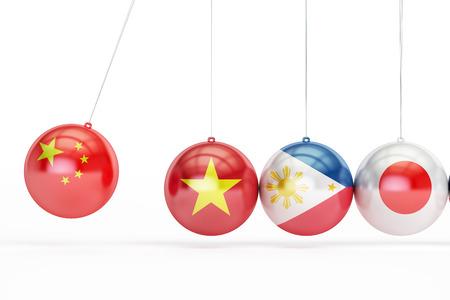 China, Vietnam, Philippines, Japan conflict concept, 3D rendering