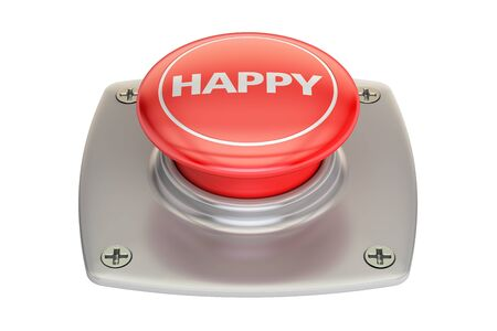 Happy Red Button, 3D rendering isolated on white background Stock Photo